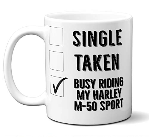 Funny Harley M-50 Sport Mug. Single, Taken, Busy Riding, for sale  Delivered anywhere in USA