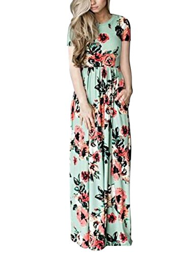YOUCOO Women's Spring Casual Floral Printed Long Pregnant Maxi Dress, Short Green, Small