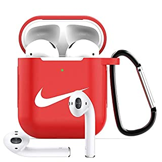 Tusztus Compatible for Airpods 2 & 1 Case Silicone Protective Cover [Front LED Visible] (Red) APC02