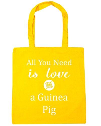 HippoWarehouse All You Need is Love und Guinee Schwein Einkaufstasche Fitnessstudio Strandtasche 42cm x38cm, 10 liter - Gelb, One size