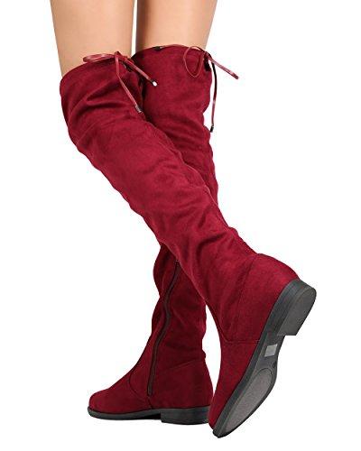FD33 Maroon Women Liliana Drawstring High Thigh Faux Riding Suede Boot PqywU61