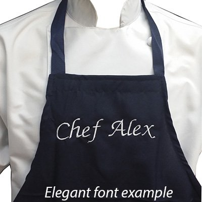 CHEFSKIN Personalized Custom Embroidery Name Apron Choose Size Color Font, Beautiful Makes a Great Gift! (MED (fits 8-12))