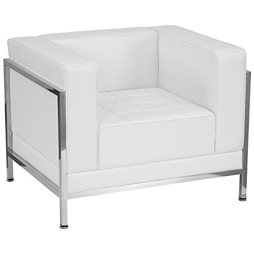 Flash Furniture HERCULES Imagination Series Contemporary Melrose White Leather Chair with Encasing Frame by Flash Furniture
