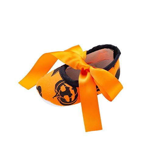 Fiaya Halloween Shoes Cute Baby Girls Non-Slip Bow Mary Jane Princess Shoes First Walkers (Orange, 0-6 Months)