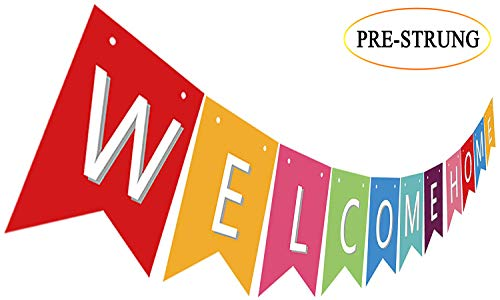 Pre Strung Welcome Home Banner, Colorful Paper Welcome Home Sign Decoration, Sweet Home Decor -