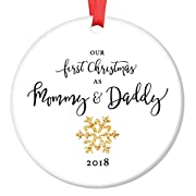 Mommy & Daddy Ornament 2018, New Mother & Father Snowflake Porcelain Ornament, 1st Christmas as Mom & Dad, 3  Flat Circle Christmas Ornament w Glossy Glaze, Red Ribbon & Free Gift Box | OR00021 Elijah