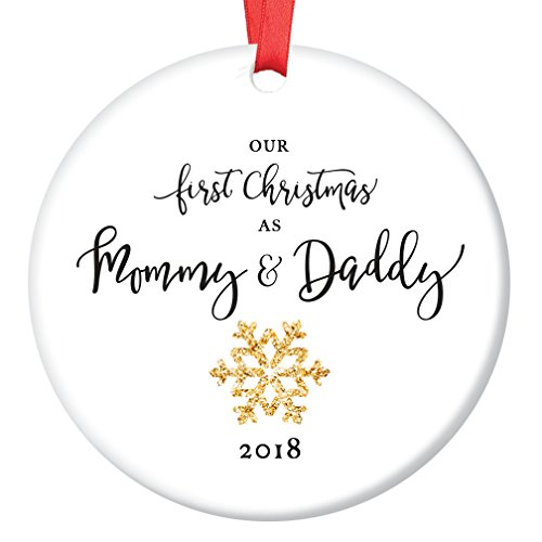 Mommy & Daddy Ornament 2018, New Mother & Father Snowflake Porcelain Ornament, 1st Christmas as Mom & Dad, 3