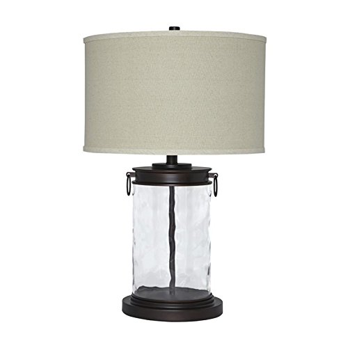 Traditional Glass Table Lamp in Clear and Bronze Finish
