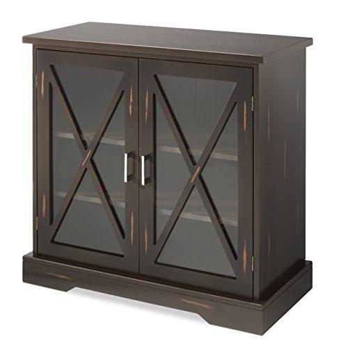 Glass Cabinet Doors Walnut (Whitmor Distressed 2-Door Storage Cabinet Walnut)