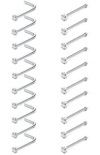 (JOERICA 20 Pcs 20G Stainless Steel Nose Studs Rings Pin and L Bend Body Piercing CZ Inlay 1.5mm)