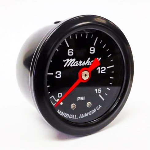 Marshall Instruments LBB00015 Liquid Filled Fuel Pressure Gauge Black ()