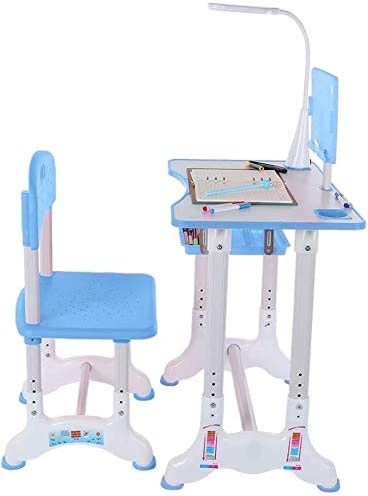 Ergonomic Student Writing Desk for Studying Blue Aoimer Kids Study Desk and Chair Set Reading and Drawing Height Adjustable Table /& Chair Drawing Set with Bookstand and Drawer