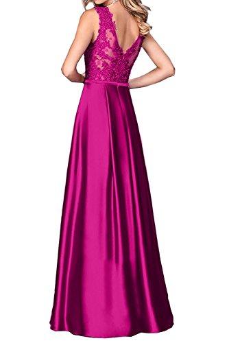 Spitze Marie V 2017 Traube Abendkleider Satin Ballkleider Langes Lila Promkleider La Ausschnitt Braut Abiballkleider qXadwII