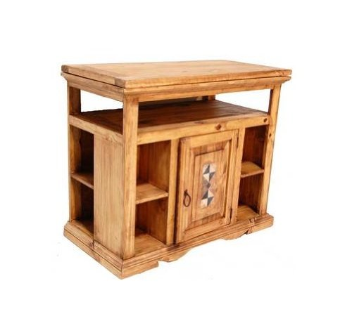 Tv Swivel Top with Marble and Storage Flat Screen Console Real Wood Western Rustic price