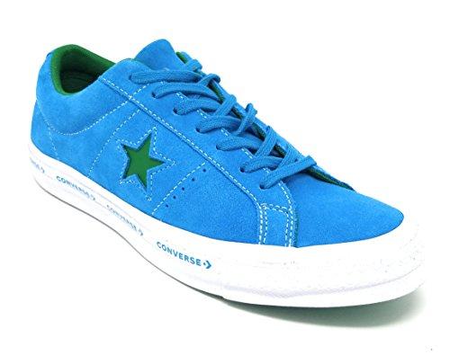 Converse One Star OX Premium Suede Fashion Sneaker (12 D US, Hawiian Ocean/Jolly Green) (Star Ox Shoes)