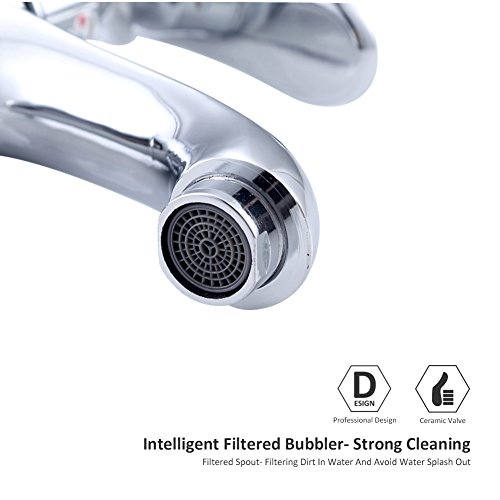 Chrome Bathroom Sink Faucet crystal Luxury single Handle Bar Sink Mixer Tap Lavory Faucet Silver Deck Mount Hot And Cold Water by HOTBASIN (Image #4)