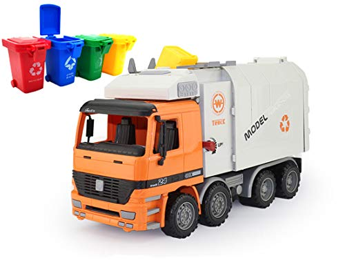 AITING Oversized Friction Powered Toys Side Loading Garbage Truck with 4 Colour Trash cans
