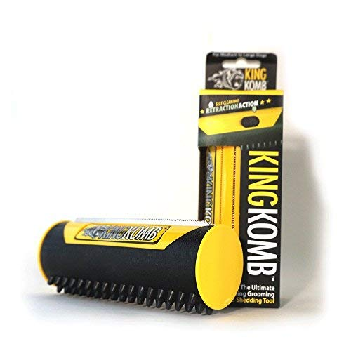 New and Improved King Komb Retractable 3 Blade Brush With Rubber Bristles For Shedding Dogs And Cats  Pet Grooming Tool  Easy to Clean  Yellow Large