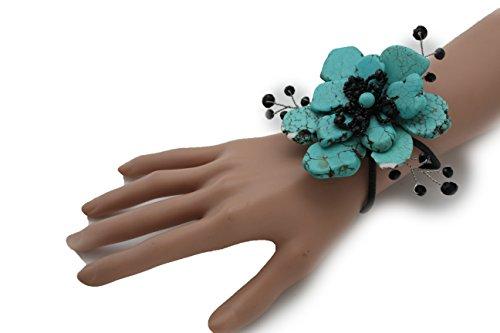 TFJ Women Fashion Jewelry Hand Elastic Metal Cuff Bracelet Big Flower Black Beads Turquoise Blue (Studded Wristband Single)