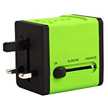 Global Travel Multipurpose Adapter,mobfun Univeral Travel Power 2USB Wall Charger with AC Socket with Convertible Plug Used in USA EU UK AUS Asia 150 Countries (Green)