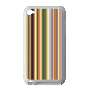 Canting_Good Simple Colorful Stripes Custom Case Cover Shell for IPod Touch 4 TPU (Laser Technology)