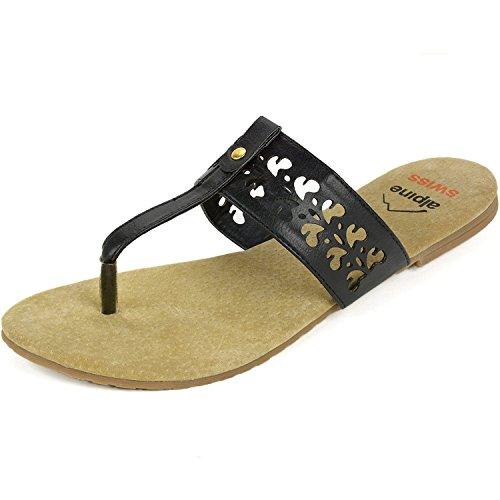 Lined Suede Sandals - alpine swiss Womens Black Suede Lined Cutout T-Strap Flip Flop Thong Sandals 5 M US