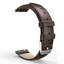 Universal 20mm Quick Release Watch Band, MoKo Premium Soft Genuine Leather Crocodile Pattern Strap for Samsung Gear S2 Classic/Motorola Moto 360 2nd Gen Men's 42mm/Ticwatch 2nd/Huawei Watch 2, BROWN