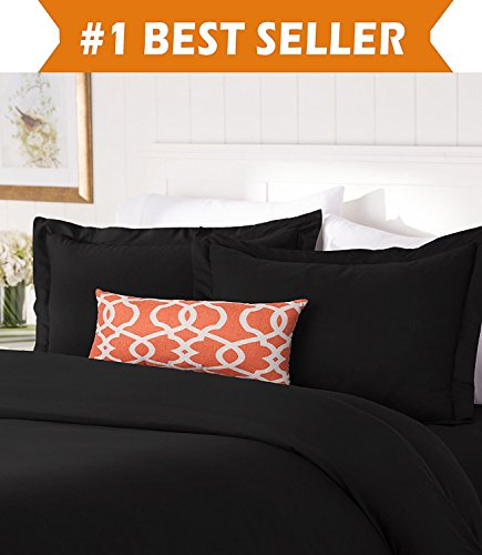 Elegant Comfort #1 Best Bedding Duvet Cover Set! 1500 Thread Count Egyptian Quality Luxurious Silky-Soft WRINKLE FREE 3-Piece Duvet Cover Set, Full/Queen, - Duvet Black Queen