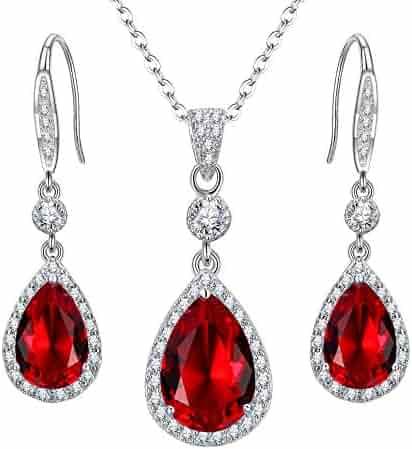63519d1ef EleQueen 925 Sterling Silver Full Cubic Zirconia Teardrop Bridal Pendant Necklace  Hook Dangle Earrings Set