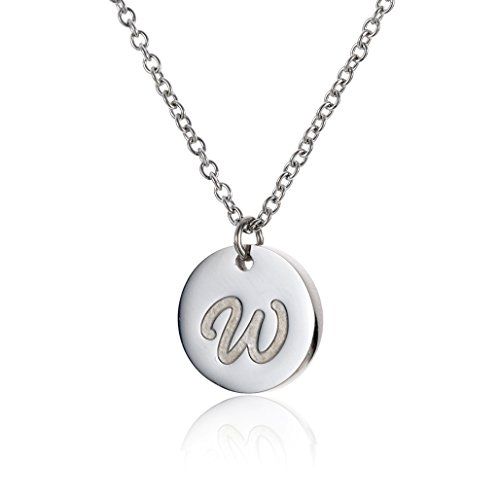 (HUAN XUN Stainless Steel Handwritting Initial Disc Necklace Font W)
