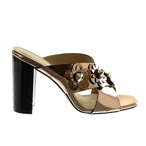 Mule Bloc Sandale Talon Verni Fleurs Slip 5 Champagne 10 Angkorly Chaussure Mode on CM Clouté Femme Haut RU4tw7