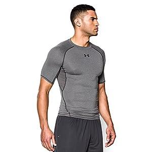 Under Armour Men's HeatGear Armour Short Sleeve Compression Shirt, Carbon Heather /Black, Medium
