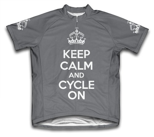 Keep Calm and Cycle On Short Sleeve Cycling Jersey for Men Gray - Size S