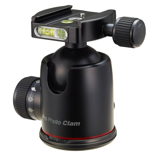 Photo Clam PRO-46NS Photo Clam Pro 46NS PRO Head with Friction Control, 3/8-Inch Socket, Side and Top Bubble Levels (Black) by Photo Clam