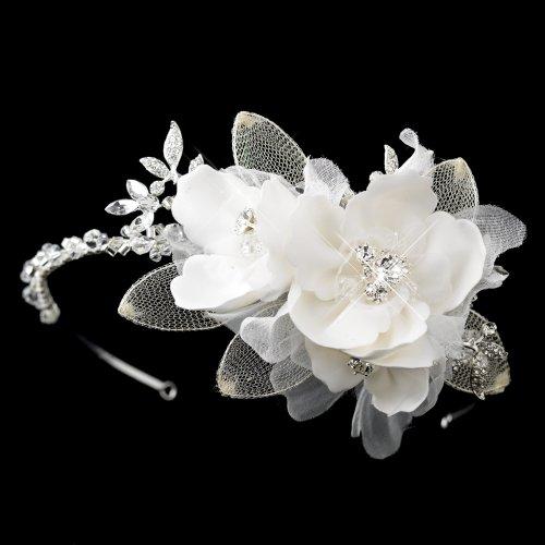 Martina Ivory Fabric Flower with Swarovski Crystal & Rhin...