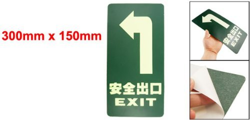 EbuyChX 300mm x 150mm Turning Left Square Luminous Emergency Exit Sign