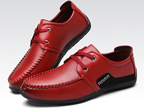 HYLM Primavera Y Otoño Nuevos Zapatos De Negocios De Encaje De Color Sólido Zapatos Deportivos wine red