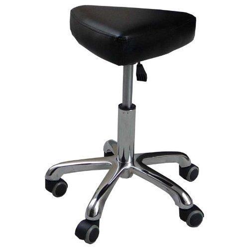 Eyepower 12347 Kosmetikhocker Leder schwarz, Sitzhöhe stufenlos höhenverstellbar