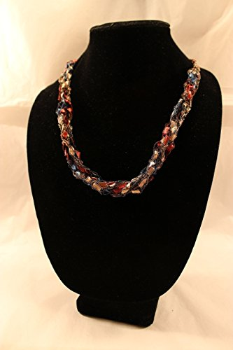 Length No Clasp - Necklace Scarf Adjustable Length Crochet Ladder Ribbon Rose Blue