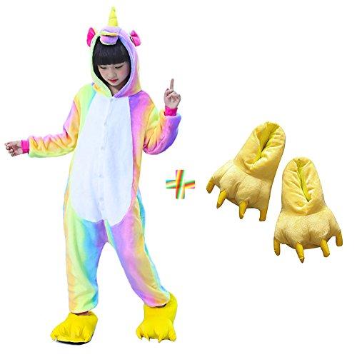 Sleepwear Slippers (Kids Unisex Unicorn Onesie Pajamas Animal Costume Sleepwear with Monster Slipper (Rainbow Size 5))