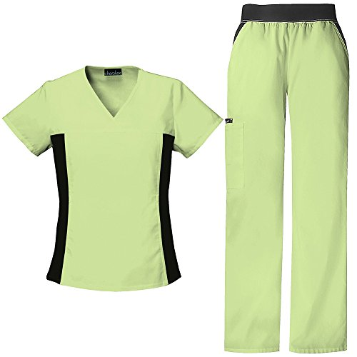 Cherokee Flexibles V-neck Top - Cherokee Flexibles by Women's V-Neck with Contrast Knit Side Panels Scrub Top & Cargo Pant Set XX-Large Celadon