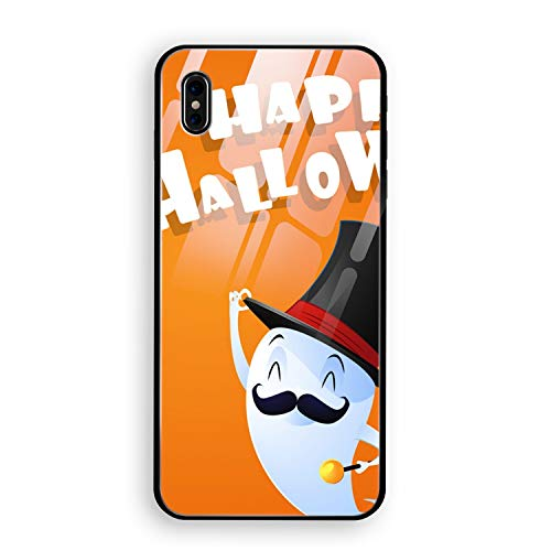Flying Cute Ghost Spirit with Hat Happy Halloween iPhone X Case, Thin Tempered Glass Back Cover and Soft Silicone Rubber Bumper Frame Support Wireless Charging Compatible for iPhone X