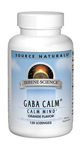 Source Naturals Serene Science GABA Calm 125mg Orange Flavor Supplement Natural Support- WithAdded Magnesium, Glycine, N-Acetyl L-Tyrosine, Taurine & More - 120 Lozenges
