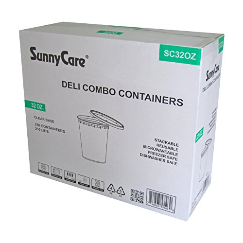 SunnyCare® 32 oz.Microwavable Translucent Plastic Deli Container with Lid -(Case of 250) (Deli Containers 32 Oz compare prices)