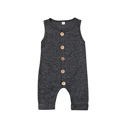 Seyurigaoka One Piece Outfits Baby Grey Striped Rompers with Button Kids Sleeveless Playsuit Jumpsuits Pants Cotton Clothing (Grey Black Overall, 0-6 Months)