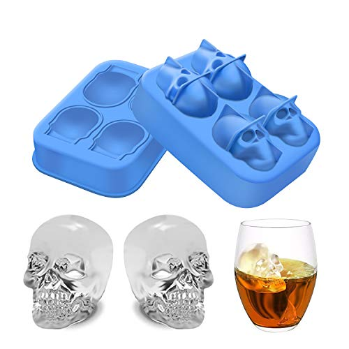 Ice Cube Tray - Halloween 3D Skull Silicone Ice Tray Freezes Cool your Drink Fast Food Grade Safe for Chilling Bourbon Whiskey, Cocktail, Beverages for -