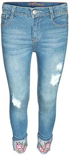 (WallFlower Girl\'s Skinny Soft Stretch Jeans with Rips and Tears, Medium Dark Floral Cuff 8')
