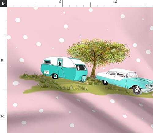 (Spoonflower Polka Dot Fabric - Automobile Car Travel Camping 1950S Camper by Salzanos Printed on Organic Cotton Knit Ultra Fabric by The Yard )