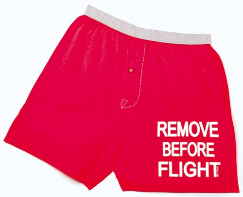 Born Boxers - Born Aviation Men's Remove Before Flight Boxer Shorts-Red-Extra Large