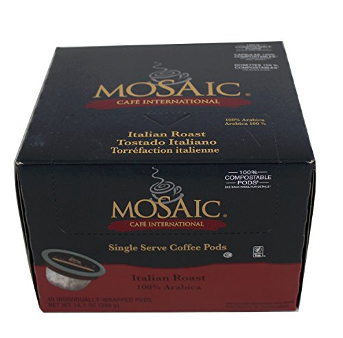 Mosaic Italian Roast Single Serve Coffee Pods, 40 Count, 100% Arabica - Mosaic Coffee